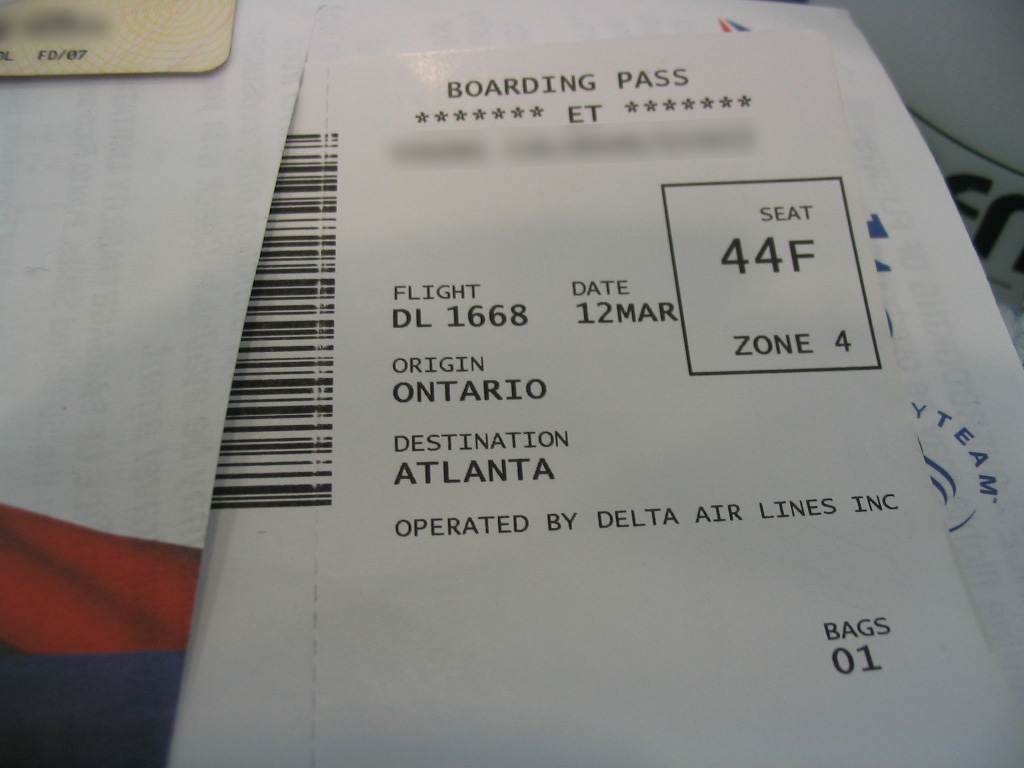 Ontario, CA - my boarding pass